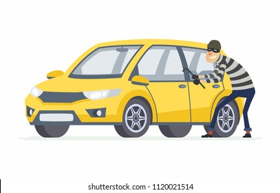 Car thief - cartoon people characters illustration isolated on white background. High quality composition with a criminal, burglar breaking into a yellow car with a crowbar. Vehicle insurance concept