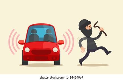 Car thief running away from alarmed car. Car theft. Car alarm system concept. Insurance. Vector illustration, flat cartoon style. Isolated background.