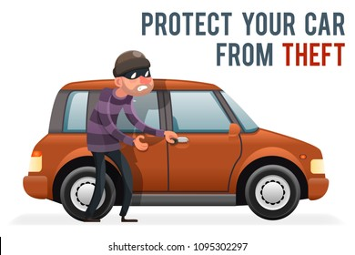 Car thief steal automobile robber robbery purse character isolated icon cartoon design vector illustration