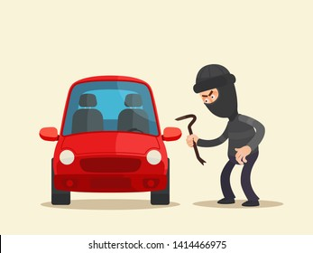 Car thief trying open car door. Car theft. Car Insurance. Vector illustration, flat cartoon style. Isolated background.