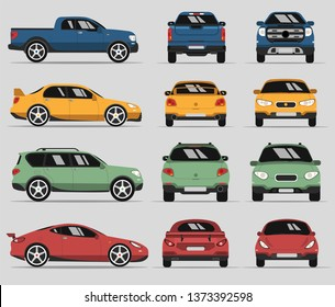 Car in three positions. Four types of city cars. Vector isolated illustration