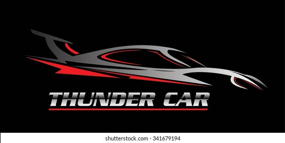 car. thunder car. car illustration, car icon over the black background, drawing, outline. combine with the silver metallic text