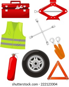 car tire change emergency elements cartoon icons