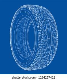 Autoreifen-Konzept. Vektorgrafik von 3d. Wire-Frame-Stil. Die Schichten sichtbarer und unsichtbarer Linien sind getrennt