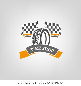 Car tire icon with finish flags in grey and orange colors useful for icon and logotype design on light background. Realistic graphic style. Digital pictogram collection. Beautiful vector illustration