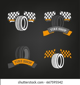 Car tire icons set in dark grey, white and orange colours useful for icon and logotype design on a dark background. Vector illustration in a modern graphic style. Digital pictogram collection.