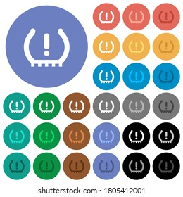 Car tire pressure warning indicator multi colored flat icons on round backgrounds. Included white, light and dark icon variations for hover and active status effects, and bonus shades.