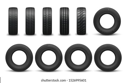 Car tire in vector, front side views. Vector vehicle tyres, round component surround wheel rim, provide traction on surface. Transport rubber wheel, types of tires with variety of tread patterns