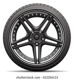Car tire wheel isolated vector illustration.