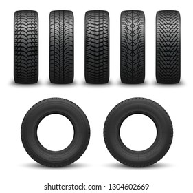 Car tires or auto tyres 3d vector illustration. Automobile wheels with different tread patterns from side and front views. Tire shop, motor vehicle and transportation themes