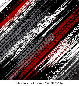 Car tires dirty traces grunge background. Vehicle wheel rubber treads, motorbike protector black, white and red marks, truck protector treads vector graphic texture. Motorsport or transport background