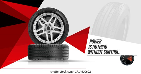 Car tires pile background. Tire stack. Group of tyres isolated. Change a car tires from summer for winter. Realistic vector. Information. Store. Action.Landscape poster, digital banner, flyer.