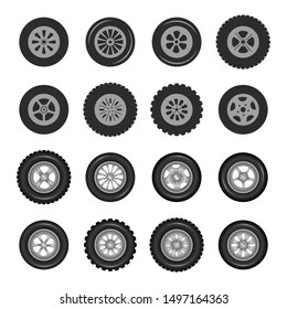 Car tires and track traces vector isolated icons of tire tread pattern. Vector illustration, eps10.