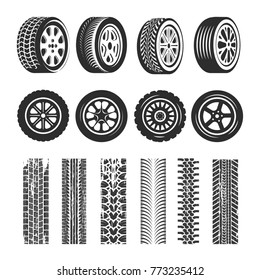 Car tires and track traces vector isolated icons of tire tread pattern