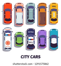 Car top view. City vehicle transport. Automobile cars for transportation, from above auto car vector isolated icons set