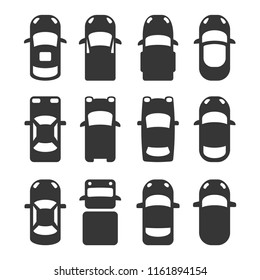 Car Top View Icons Set on White Background. Vector