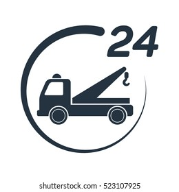 car tow service, 24 hours, truck , solated icon on white background, auto service, car repair