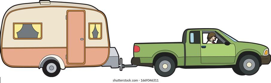 Car towing a caravan, EPS 10 file
