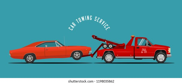 Car Towing Truck Service Illustration with towing truck and car. Ready made illustration for your business. Vector Illustration.