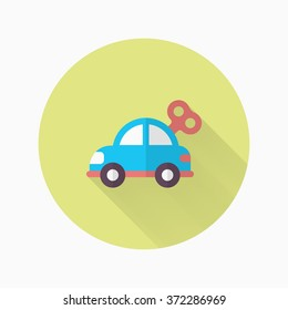 Car toy icon , Vector flat long shadow design. Children's toys concept.
