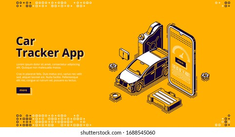 Car tracker app isometric landing page. Gps geolocation service for mobile phone. Automobile at huge smartphone with track application. Navigation and destination control 3d vector line art web banner