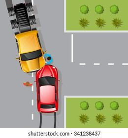 Car traffic accident with two cars and drivers flat vector illustration