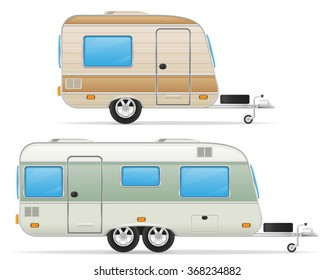 car trailer caravan mobil home vector illustration isolated on white background