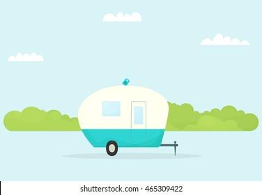 car trailer caravan. Vector image