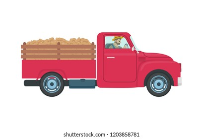 Car with trailer and cargo icon vector. Person driving farming vehicles for transportation and hauling production. Machinery and farmer in transport