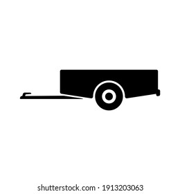 Car trailer icon. Side view. Black silhouette. Vector flat graphic illustration. The isolated object on a white background. Isolate.