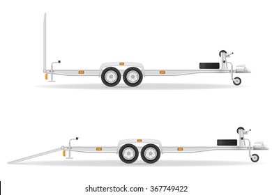 car trailer for transportation vehicles vector illustration isolated on white background