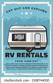 Car trailer travel, RV family camper caravan rental service. Vector road camping adventure, camp truck or motorhome in mountain park, extreme hiking and outdoor holiday vacation