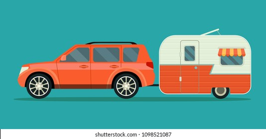 Car and trailers caravan isolated. Vector flat style illustration