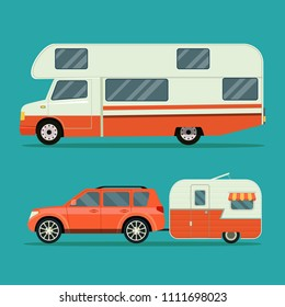 Car and trailers caravan set. Vector flat style illustration