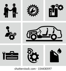 Car transmission, gearbox icons