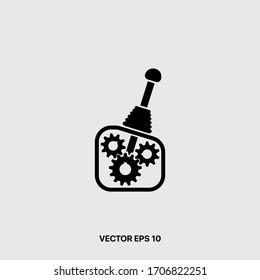 Car transmission icon flat style logo repair car automobile element