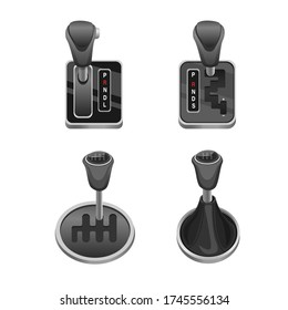 Car Transmission Lever in Automatic, Semi Automatic and manual symbol collection icon set, Automotive Gear Lever Shift. Concept Realistic illustration vector in white background