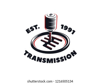 Car transmission service logo on white background. Automatic and manual transmission fluid change emblem.