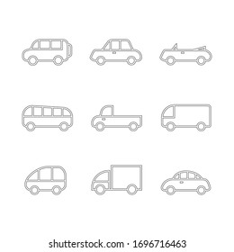 Car transport icon, sign, pictogram, symbol set isolated on a background flat style