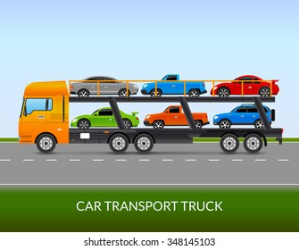 Car transport truck on the road with different types of cars flat vector illustration