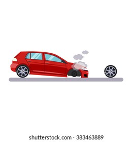 Car and Transportation Issue with a Wheel. Flat Vector Illustration