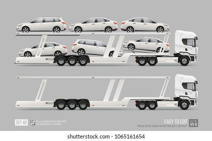 Car Transporter Truck trailer - Hi-detailed vector template. Empty car carrier truck isolated from grey background