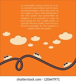 Car travel background. Vector illustration.