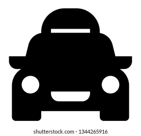 Car travel icon. Vector icon of car with roof rack