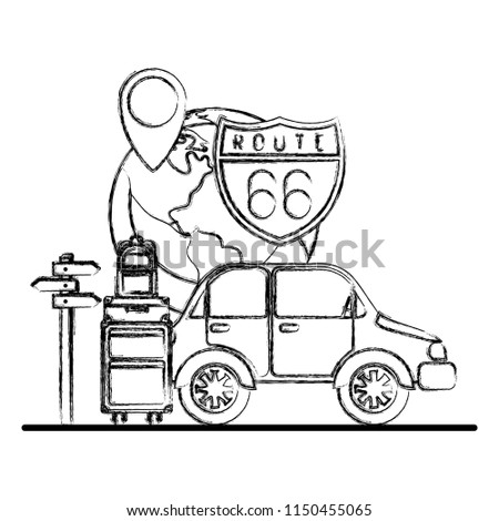 Car Travel Set Icons Stock Vector Royalty Free 1150455065