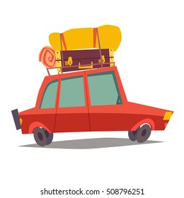 Car for traveling. Vehicle transport with baggage. Red car for family trip, side view. Cartoon vector illustration, isolated on white background