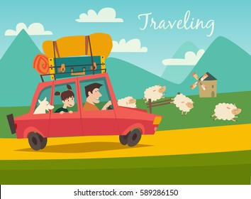 Car trip to camp, tourism concept vector illustration.  Summer trip on the country side. Red car with baggage, summer holidays