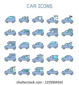 car, truck, camper car icons set, blue theme