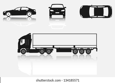 Car and truck silhouettes