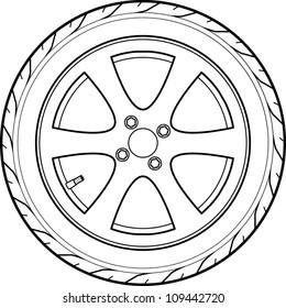 car or truck tire line art